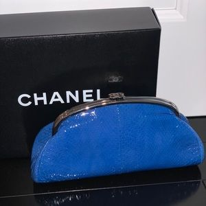 Chanel lizard blue clutch